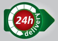 étiquette de la distribution 24h Image stock