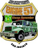 Étiquette de mémorial de l'engine 57 de Service Forestier illustration de vecteur