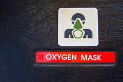 Étiquette de mise en garde de masque à oxygène dans l'habitacle d'Airbus A320 Image stock