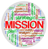 Étiquette de mot de mission illustration stock