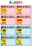 Étiquette de nom pour des enfants illustration stock