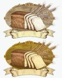 Étiquette de pain et de blé de type de gravure sur bois Image libre de droits
