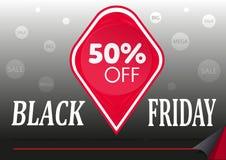 Étiquette de rouge de vente de Black Friday Photos stock
