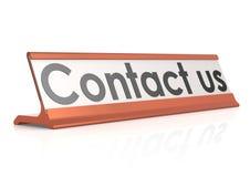 Étiquette de table de contactez-nous Images stock