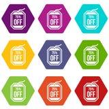 Étiquette de vente 75 pour cent outre de hexahedron réglé de couleur d'icône Photographie stock