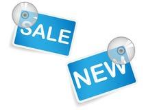 Étiquette de ventes avec aspirer le disque Photographie stock