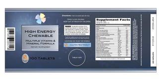 Étiquette de vitamine Photos libres de droits