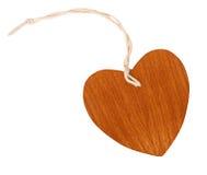 Étiquette en bois de forme de coeur d'isolement Images libres de droits