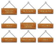 Étiquette en bois set2 illustration stock