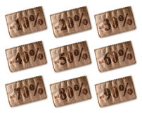 Étiquette en cuir avec des remises réglées Photographie stock libre de droits