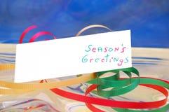 Étiquette et bande de cadeau Photo libre de droits