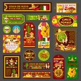 Étiquette et carte mexicaines de partie de fiesta de Cinco de Mayo illustration libre de droits