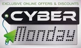 Étiquette foncée avec Crystal Screen et indicateur commémorant le Cyber lundi Photo libre de droits