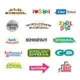 Étiquette - graphismes d'école Photographie stock