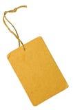 Étiquette grunge jaune d'étiquette de vente de carton d'isolement photos stock