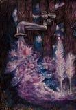 Étiquette magique cosmique versant l'eau étoilée avec des planètes la nuit Photographie stock