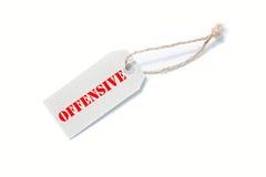 Étiquette offensive Photos stock