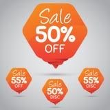Étiquette orange gaie pour lancer la vente sur le marché au détail de la conception 50% 85% d'élément, disque, dessus Photographie stock libre de droits