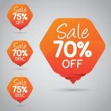 Étiquette orange gaie pour lancer la vente sur le marché au détail de la conception 70% 75% d'élément, disque, dessus Images stock