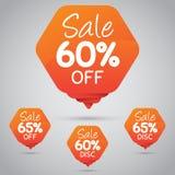 Étiquette orange gaie pour lancer la vente sur le marché au détail de la conception 60% 65% d'élément, disque, dessus illustration stock