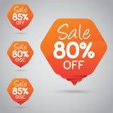 Étiquette orange gaie pour lancer la vente sur le marché au détail de la conception 80% 85% d'élément, disque, dessus illustration stock