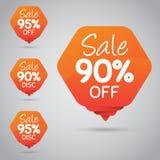 Étiquette orange gaie pour lancer la vente sur le marché au détail de la conception 90% 95% d'élément, disque, dessus Photographie stock