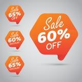 Étiquette pour lancer la vente sur le marché au détail de la conception 60% 65% d'élément, disque, sur l'orange gaie Photo libre de droits