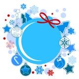 Étiquette ronde de Noël   Photographie stock libre de droits