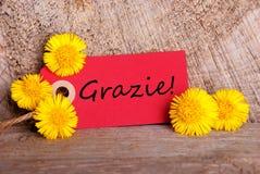 Étiquette rouge avec Grazie Photographie stock libre de droits
