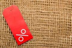 Étiquette rouge avec le signe de pour cent Photo libre de droits