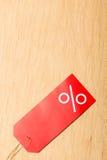 Étiquette rouge avec le signe de pour cent Images libres de droits