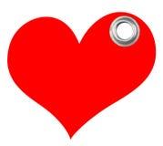 Étiquette rouge de coeur Images stock
