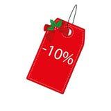 Étiquette rouge de Noël Photographie stock