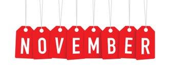 Étiquette rouge de novembre illustration stock