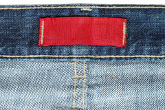 Étiquette sur des jeans Image libre de droits