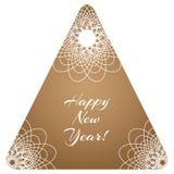 Étiquette triangulaire de vecteur de Noël avec trois mandalas Photo stock