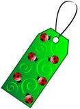 étiquette verte de cadeau Photographie stock