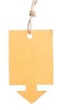 Étiquette vide attachée avec de la ficelle brune d'isolement contre un backgr blanc Photo stock