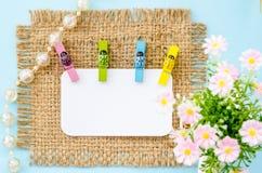 Étiquette vide de livre blanc et brides en bois de coccinelle colorée Image stock
