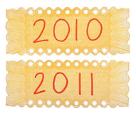 étiquettes 2010 et 2011 de Handwriten Photographie stock