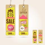 Étiquettes accrochantes de vente occasionnellement de célébration de festival d'Eid Mubarak Images libres de droits