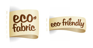 Étiquettes amicales de tissu de produit d'Eco. Photographie stock libre de droits