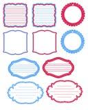 Étiquettes bleues et rouges de journal Image libre de droits