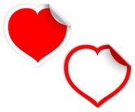 Étiquettes/collants rouges de coeur Photographie stock