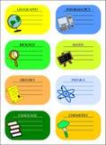Étiquettes colorées d'école Images stock