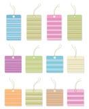 Étiquettes colorées de cadeau avec des lignes. Photo libre de droits