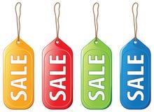 Étiquettes colorées de vente Images stock
