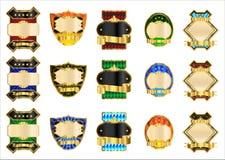 Étiquettes décoratives d'or Photographie stock libre de droits