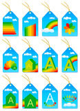Étiquettes d'économie d'énergie Photographie stock libre de droits