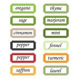 Étiquettes d'épices Photos stock